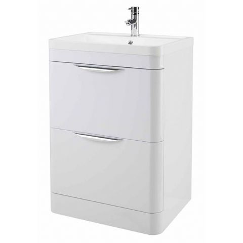 High Gloss White Curved 600mm 2 Draw Floor Standing Vanity Unit
